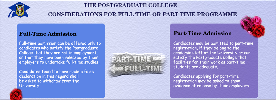 Considerations for Full time or Part time